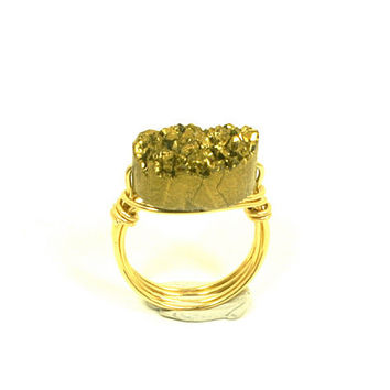Gold Druzy Ring Size 7 1/2 Oval Quartz Titanium Geode Bead Gold Plated Wire Wrapped