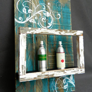 Hand painted Wall art, shelf with peeling white paint floating frame, barnwood, Reclaimed Wood Pallet Art, Rustic and Shabby Chic curly Art