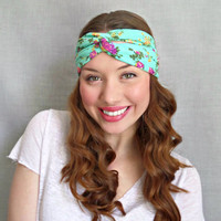 Turban Headband , Jersey Headband, Floral Print, Aqua Mint Green Bohemian Hair Accessories