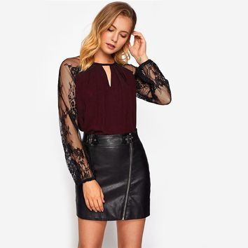 Fashion  Burgundy Long Sleeve Sexy Top With Zipper Womens Elegant