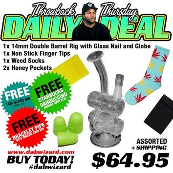 DAILY DEAL 06/25/2015- 1x 14mm Double Barrel Rig with Glass Nail and Globe + 1x Non Stick Finger Tips + 1x Weed Socks + 2x Honey Pockets
