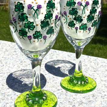 Hand Painted Wine Glasses With Shamrocks And Beaded Wine Glass Charms, Irish Gifts, Mothers Day Gift, 21st Birthday Gift, Gifts For Her