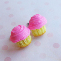 strawberry pink frosted cupcake stud post by ScrumptiousDoodle