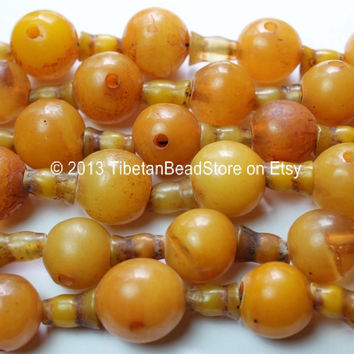 5 SETS - LARGE Tibetan Amber Copal Resin Guru Bead Sets - 21-25mm - Mala Making Supply - Tibetan Guru Beads - GB40-5