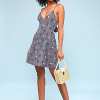 Bloom Checka Bloom Blue and White Gingham Floral Print Dress