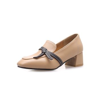 British Academy Style Shallow-mouthed Single Shoes Middle Heels Women Pumps
