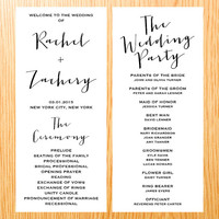 Simple Wedding Ceremony Wedding Program Card Modern Minimalist Handwritten Script Typography Digital Print Printable Party Invite Card