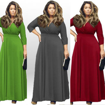 Women Winter Plus size 2016 Multicolor Deep V-neck Half Sleeve Vintage Solid Women's Dress Large size Autumn Female Casual Office Dresses