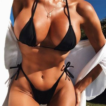 Summer Beach Hot Sale Women Sexy Pure Color Lace-Up Two Piece Bikini Swimsuit Black