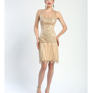 Sue Wong Fall 2014 Champagne Sleeveless Embroidered Netted Deco Short Dress
