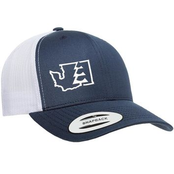 State Tree WA Trucker Hat Navy/White