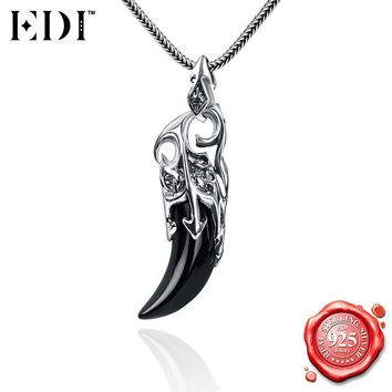EDI 925 Sterling Silver Fine Jewelry Black Natural Gemstones Wolf Tooth Pendants Snake Chain Necklace for Women/Men Hiphop Style