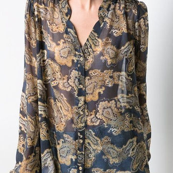 Totem Print V-Neck Long-Sleeve Chiffon Blouse