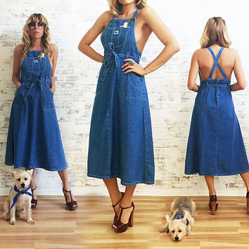 Vintage 1970's Denim PINAFORE Overall Apron Dress || Size Small To Medium