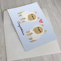 Wedding Card - Wedding French Bulldogs Greeting Card - 2 Brides Wedding Card - French Bulldog lover card - Gay Wedding Card - Gay Marriage