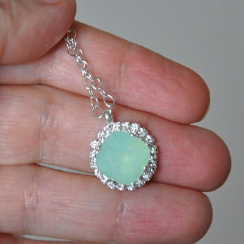Mint Opal Swarovski Crystal Necklace, Pendant Necklace, Mint green Swarovski, Bridal Necklace, Silver Necklace, Sterling Silver, Rhinestones