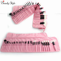 Pink Professional 32Pcs Pouch Bag Case Super Soft Cosmetic Makeup Brush Set Kit + 1x Leather Case