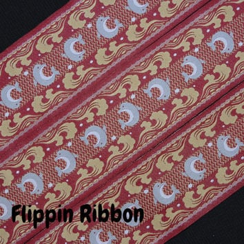Dolphins on Red Ribbon, 2 Yards, 1 7/8 inch Jacquard