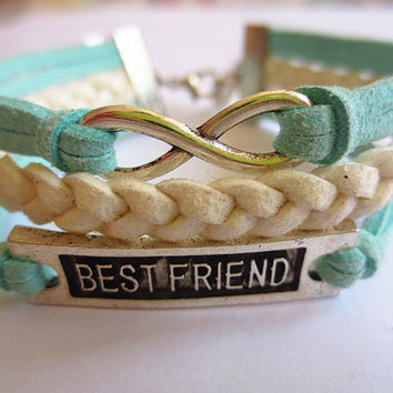 Infinity & best friend Charm Bracelet--Antique Silver -leather Cords and Leather Bracelet-Personalized Bacelet,Friendship gift sh