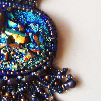 Titanium Druzy, Bead Crocheted Pendant. Embroidered Blue-Gold Titanium Druzy, Dark Blue Freshwater Pearls Pendant.