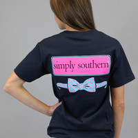 Simply Southern Tee - Preppy Navy Bow