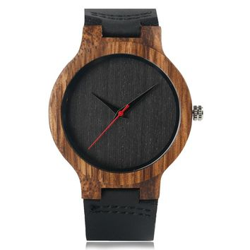Analog Bamboo Modern Wristwatch