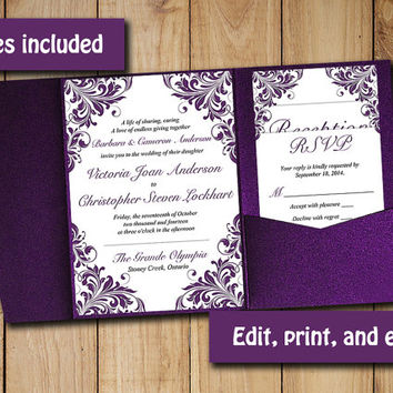 Pocketfold Wedding Invitation Template Set Eggplant Maggie P