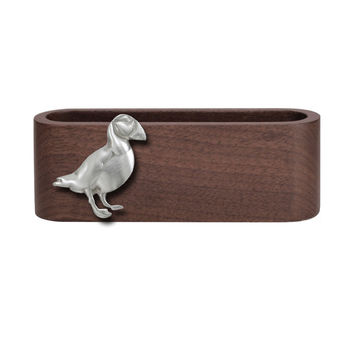 Wooden Business Card Holder with Fine Pewter Puffin Emblem