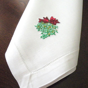 Mistletoe Christmas Dinner Napkins High Quality 20 inch hemstitched Linen Cotton Christmas Napkin By Canyon Embroidery