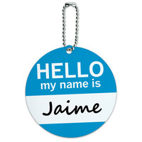 Jaime Hello My Name Is Round ID Card Luggage Tag