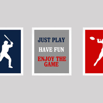 Baseball and Football in Navy Gray and Red, CUSTOMIZE YOUR COLORS, Sport Theme, 8x10 Prints, set of 3, nursery decor print art baby decor