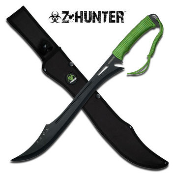 Zombie Hunter Fixed Blade Machete - Neon Green Cord Wrapped Handle