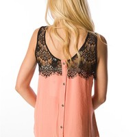 Chiffon Tank with Top Lace - Peach at Lucky 21 Lucky 21