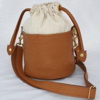 Small Beaudin Ditty Bag in Amore - Natural Canvas and Leather - Crossbody Bag - Solid Brass Hardware - Drawstring Resort Purse