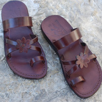 Flat summer camel Jesus sandals shoes brown leather and classic style for women