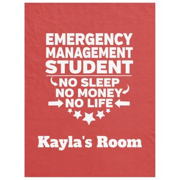 Emergency Management College Major No Sleep Money Fleece Blanket
