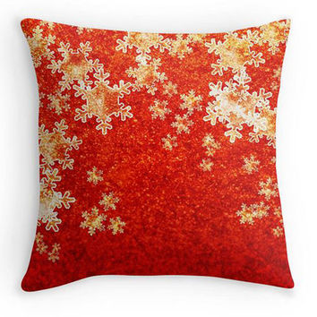 Christmas Pillow, Red Snowflakes Scatter Cushion, 16x16, Xmas Decor, Red and Gold Cushion Cover