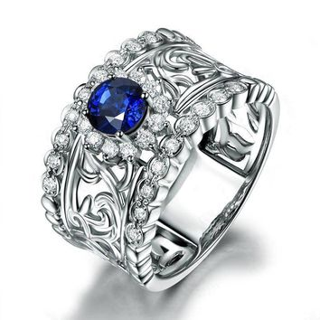 ON SALE - Léonie En Bleu .80CT Filigree Band IOBI Simulated Diamond Ring