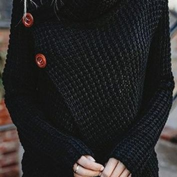 Park Bench Long Sleeve Chunky Turtleneck Wrap Pattern Pullover Sweater - 4 Colors Available