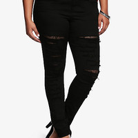 Tripp Skinny Denim Pant - Destructed with Mesh Backing