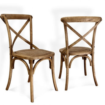 Joveco Antique Style Solid Wood Dining Chair with X Back Soft Rattan Seat - Set of 2