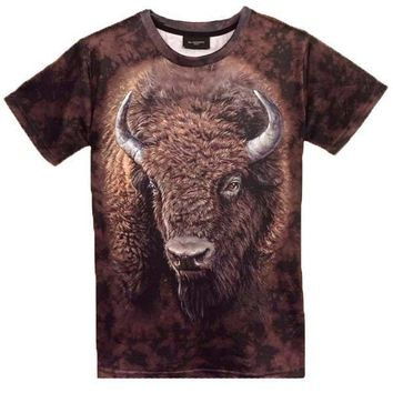 American Buffalo Bison Face Print Graphic Tee T-Shirts | DOTOLY