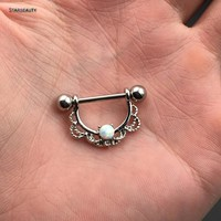 2 pcs/lot Cool White OPAL Piercing Nipple Ring 14G Septum Nose Piercing Women Opal Nipple Piercings Body Jewelry Pircing