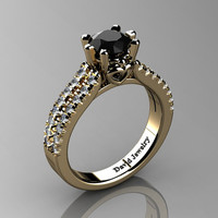 Classic 14K Yellow Gold 1.0 Ct Black And White Diamond Solitaire Engagement Ring R1027-14KYGDBD