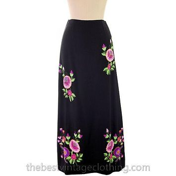 Vintage Embroidered  Maxi Skirt H. Fabrikant Wool Blend Black S