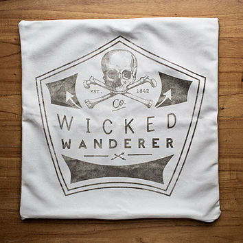 Wicked Wanderer© Typography Camp & Cabin Throw Pillow Cover Wanderlust Mod Scout Badge Decor Text Pillow White Decor