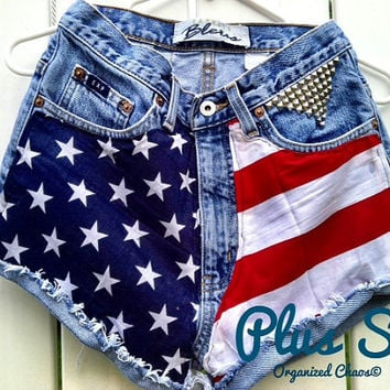 PLUS SIZE Studded Stars & Stripes High Waist by SHOPOrganizedChaos
