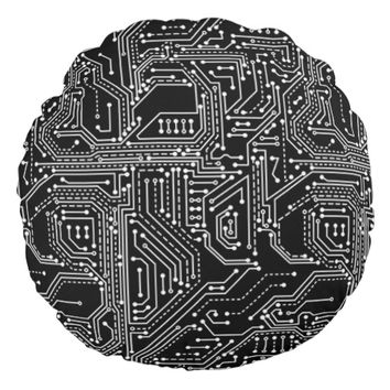 Computer Circuit Board Round Pillow