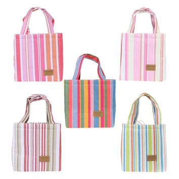 Portable Insulated Lunch Container Lunch Box Carry Tote Bag Striped Travel Picnic Ice Cooler Bags Thermal Storage Bag