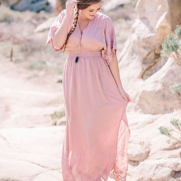 Blush V-Neck Embroidered Kimono Sleeve Maxi Dress